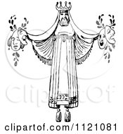 Clipart Of A Retro Vintage Black And White Actor King Theator Decoration Holding Masks Royalty Free Vector Illustration