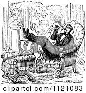 Clipart Of A Retro Vintage Black And White Man Smoking A Cigar In An Arm Chair Royalty Free Vector Illustration