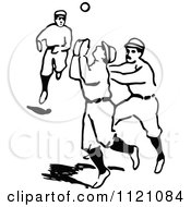 Clipart Of A Retro Vintage Black And White Baseball Player Trying To Catch The Ball Royalty Free Vector Illustration