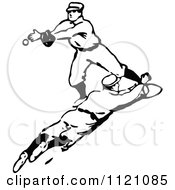 Clipart Of A Retro Vintage Black And White Baseball Baseman Reaching To Catch The Ball Royalty Free Vector Illustration