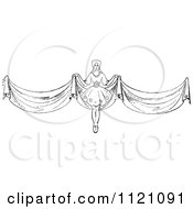 Clipart Of A Retro Vintage Black And White Woman With Long Curtains Royalty Free Vector Illustration