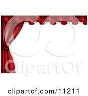 Red Stage Or Window Curtains Pulled And Tied To The Side Clipart Illustration