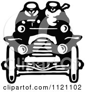 Clipart Of A Retro Vintage Black And White Driver And Passenger In A Convertible Car Royalty Free Vector Illustration by Prawny Vintage