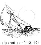 Clipart Of A Retro Vintage Black And White Bed Boat Sailing At Sea Royalty Free Vector Illustration