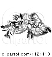 Clipart Of A Retro Vintage Black And White Daisy Flowers Royalty Free Vector Illustration by Prawny Vintage