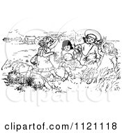 Clipart Of A Retro Vintage Black And White Children Playing In A Meadow Royalty Free Vector Illustration