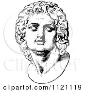 Clipart Of A Retro Vintage Black And White Face Statue 1 Royalty Free Vector Illustration