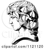 Clipart Of A Retro Vintage Black And White Face Statue 2 Royalty Free Vector Illustration