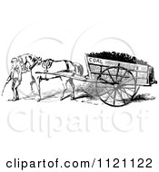 Clipart Of A Retro Vintage Black And White Boy Leading A Horse Pulling A Coal Cart Royalty Free Vector Illustration