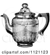 Clipart Of A Retro Vintage Black And White Metal Coffee Pot 1 Royalty Free Vector Illustration