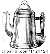 Clipart Of A Retro Vintage Black And White Metal Coffee Pot 2 Royalty Free Vector Illustration