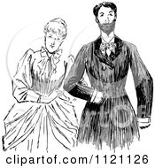 Clipart Of A Retro Vintage Black And White Victorian Couple 1 Royalty Free Vector Illustration