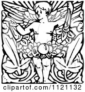 Clipart Of A Retro Vintage Black And White Cherub With Leaves Royalty Free Vector Illustration by Prawny Vintage