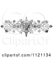 Clipart Of A Retro Vintage Black And White Ornate Floral Design Element 1 Royalty Free Vector Illustration