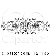Clipart Of A Retro Vintage Black And White Ornate Floral Design Element 2 Royalty Free Vector Illustration