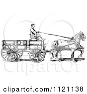 Clipart Of A Retro Vintage Black And White Horse Pulling A Wagon Royalty Free Vector Illustration by Prawny Vintage #COLLC1121138-0178