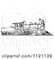 Clipart Of A Retro Vintage Black And White Locomotive Train 1 Royalty Free Vector Illustration by Prawny Vintage