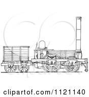 Clipart Of A Retro Vintage Black And White Locomotive Train 2 Royalty Free Vector Illustration by Prawny Vintage