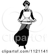 Clipart Of A Retro Vintage Black And White Domestic Housewife Or Maid Carrying A Food Platter Royalty Free Vector Illustration