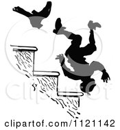 Clipart Of A Retro Vintage Black And White Boot Kicking A Man Down Stairs Royalty Free Vector Illustration