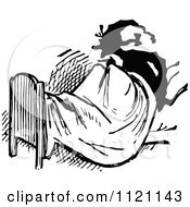 Clipart Of A Retro Vintage Black And White Man Sitting Up In Bed Royalty Free Vector Illustration