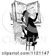 Clipart Of A Retro Vintage Black And White Man Reading A Dictionary Royalty Free Vector Illustration