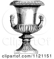 Clipart Of A Retro Vintage Black And White Garden Urn 1 Royalty Free Vector Illustration