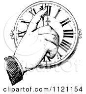 Clipart Of A Retro Vintage Black And White Hand Pointing To A Clock Royalty Free Vector Illustration