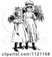 Clipart Of Retro Vintage Black And White Girls Holding Hands Royalty Free Vector Illustration