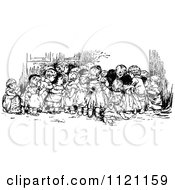 Clipart Of A Retro Vintage Black And White Group Of Huddled Children Looking At Something Royalty Free Vector Illustration by Prawny Vintage