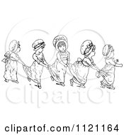 Clipart Of Retro Vintage Black And White Girls In A Line Holding On To Each Others Dresses Royalty Free Vector Illustration