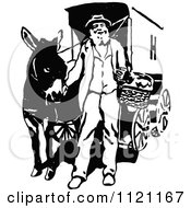 Clipart Of A Retro Vintage Black And White Vendor And Mule Royalty Free Vector Illustration by Prawny Vintage