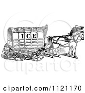 Clipart Of A Retro Vintage Black And White Horse Drawn Ice Cart Royalty Free Vector Illustration