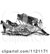 Clipart Of A Retro Vintage Black And White Horse Drawn Mining Cart Royalty Free Vector Illustration