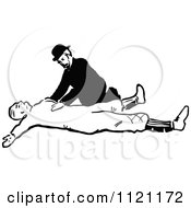 Clipart Of A Retro Vintage Black And White Man Assisting An Injured Person Royalty Free Vector Illustration by Prawny Vintage