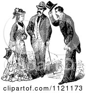 Retro Vintage Black And White Gentlemen Introducing Themselves To A Lady