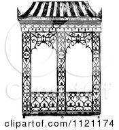 Clipart Of A Retro Vintage Black And White Iron Garden Arch Royalty Free Vector Illustration