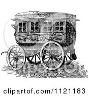Clipart Of A Retro Vintage Black And White Horse Drawn Omnibus Wagon Royalty Free Vector Illustration by Prawny Vintage