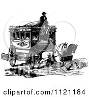 Clipart Of A Retro Vintage Black And White Coachman And Horse Drawn Omnibus Wagon Royalty Free Vector Illustration