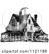 Clipart Of A Retro Vintage Black And White Victorian Queen Anne Style House 1 Royalty Free Vector Illustration
