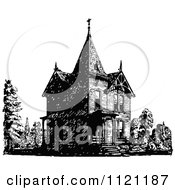 Clipart Of A Retro Vintage Black And White Victorian Queen Anne Style House 2 Royalty Free Vector Illustration