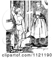 Clipart Of A Retro Vintage Black And White Boy Talking To A Maid Royalty Free Vector Illustration