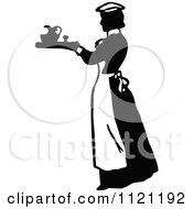 Clipart Of A Retro Vintage Black And White Maid Serving A Drink 3 Royalty Free Vector Illustration