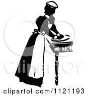 Clipart Of A Retro Vintage Black And White Maid Prepping Food 2 Royalty Free Vector Illustration by Prawny Vintage