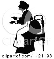 Retro Vintage Black And White Maid Sitting And Talking