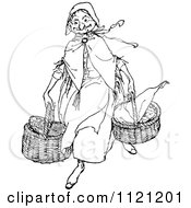Clipart Of A Retro Vintage Black And White Old Lady Carying Baskets Royalty Free Vector Illustration