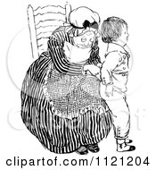 Clipart Of A Retro Vintage Black And White Grandmother Dressing A Boy Royalty Free Vector Illustration