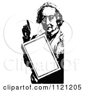 Clipart Of A Retro Vintage Black And White Old Woman Holding A Sign Royalty Free Vector Illustration