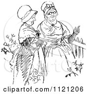 Clipart Of Retro Vintage Black And White Senior Women Talking Royalty Free Vector Illustration