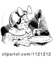 Clipart Of A Retro Vintage Black And White Old Woman With A Plate And Spoon Royalty Free Vector Illustration